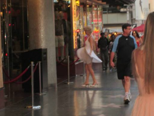 Had to catch these photos on the sly, or get asked for money! A Marilyn impersonator twirls