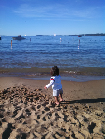 Beautiful beach in downtown Traverse City with a play area for kids, restrooms, cafe, and nearby shops and restaurants