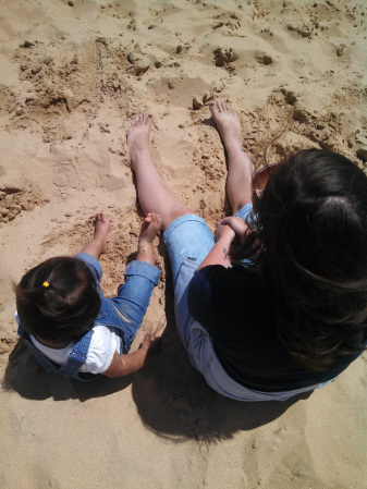 Taking a rest while climbing sand dunes at Sleeping Bear Dunes state park